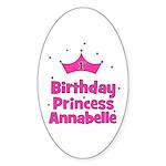 1st Birthday Princess Annabel Oval Sticker