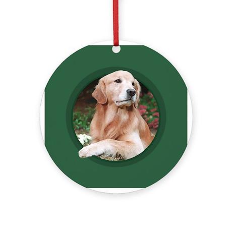 Golden Retriever Green Round Ornament