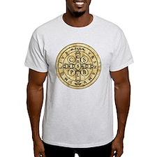 St Benedict Medal: Latin + Translation T-Shirt