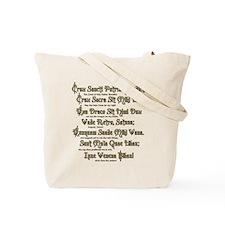 St Benedict Medal: Latin + Translation Tote Bag