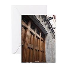 Wood Gate - Barcelona Spain Greeting Card