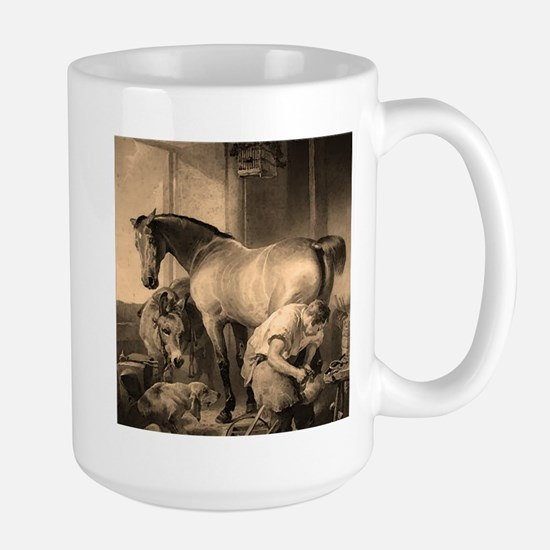 Farrier Shoeing A Horse Large Mug