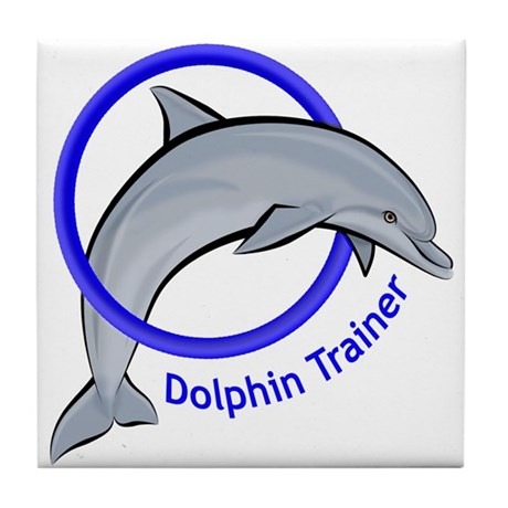 Dolphin Trainer Blue Tile Coaster
