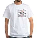 Twilight Hearts Collage White T-Shirt