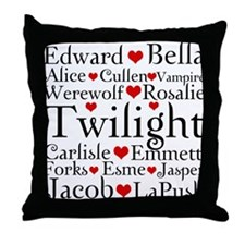 Twilight Hearts Collage Throw Pillow