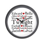 Twilight Hearts Collage Wall Clock
