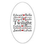 Twilight Hearts Collage Oval Sticker (10 pk)