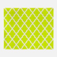 Chartreuse Moroccan Pattern Throw Blanket