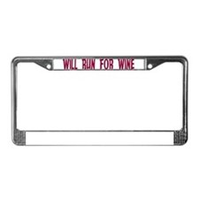 Will Run For Wine License Plate Frame
