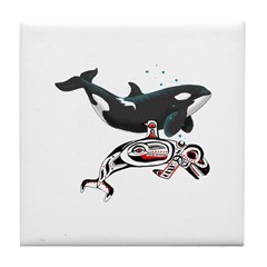 Northwest Tribal Orcas Tile Coaster