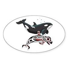 Northwest Tribal Orcas Oval Decal