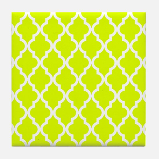 Chartreuse Moroccan Pattern Tile Coaster