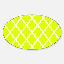 Chartreuse Moroccan Pattern Sticker (Oval)