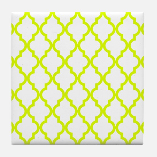 Chartreuse Moroccan Pattern (Reverse) Tile Coaster