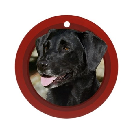 Black Labrador Red Round Ornament