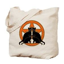 Orange Pentagram Black Cats Tote Bag