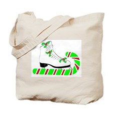 Candy Cane Ice Skate Tote Bag