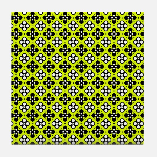 Chartreuse Ornate Flowers Pattern Tile Coaster