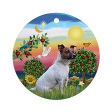 Jack Russell in Bright Country Ornament (Round)