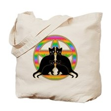Rainbow Pentagram Cats Tote Bag