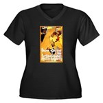 Dover-Ostend Women's Plus Size V-Neck Dark T-Shirt