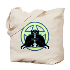 Glowing Moon Pentagram Cats Tote Bag