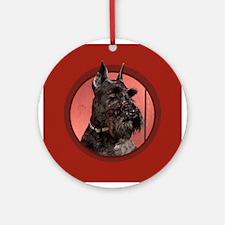 Black Miniature Schnauzer Red Round Ornament