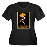 Cognac Monnet Women's Plus Size V-Neck Dark T-Shir