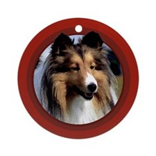 Shetland Sheepdog Red Round Ornament