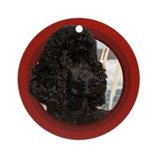 Black Poodle Red Round Ornament