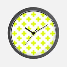 Chartreuse Plus Sign Pattern (Reverse) Wall Clock