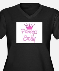 Princess Emily Women's Plus Size V-Neck Dark T-Shi