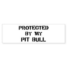 Protected by Pit Bull Bumper Bumper Sticker