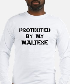 Protected by Maltese Long Sleeve T-Shirt