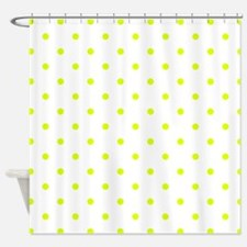 Chartreuse Small Polka Dots (Revers Shower Curtain