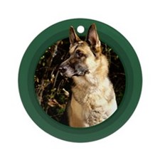 German Shepherd Green Round Ornament
