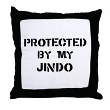 Protected by Jindo Throw Pillow