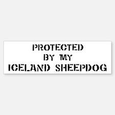 Protected by Iceland Sheepdog Bumper Bumper Bumper Sticker