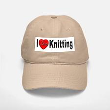 I Love Knitting Baseball Baseball Cap
