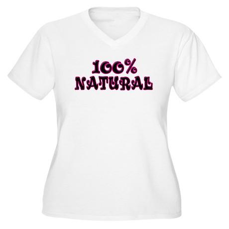 100% Natural Women's Plus Size V-Neck T-Shirt