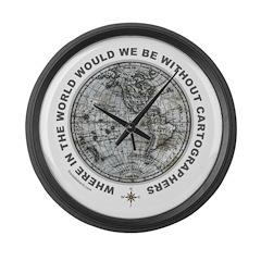 MAP/CARTOGRAPHY Large Wall Clock