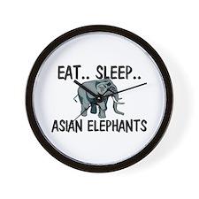 Eat ... Sleep ... ASIAN ELEPHANTS Wall Clock