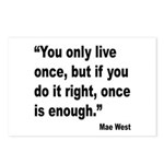 Mae West Live Right Quote Postcards (Package of 8)