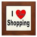 I Love Shopping Framed Tile