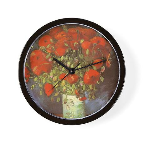 Van Gogh Vase w Red Poppies Wall Clock