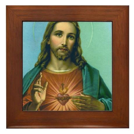 Sacred Heart 2 Framed Tile