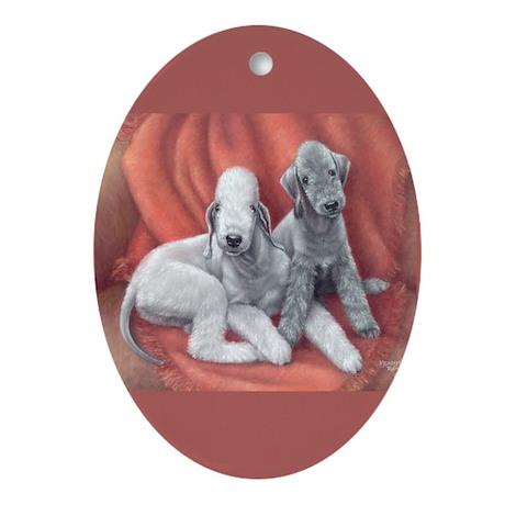 Bedlington Puppy Love Oval Ornament