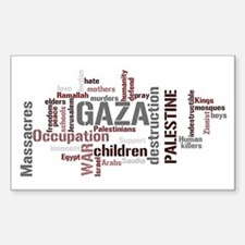 Gaza words Rectangle Sticker 50 pk)