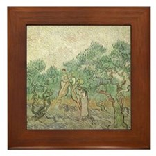 Van Gogh Olive Picking Framed Tile