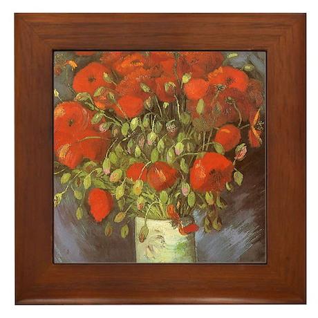 Van Gogh Vase w Red Poppies Framed Tile